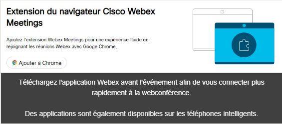 Téléchargement de l'application Webex